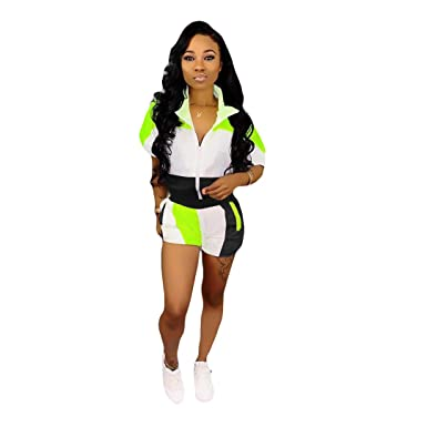 3ec011369 Womens Casual Two Piece Outfits Zip Up Patchwork Half Sleeve Jacket Top  Shorts Pants Sets
