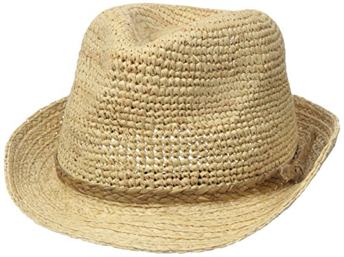 Raffia Fedora Hat (Scala Women's Crocheted Raffia Fedora, Natural, One Size)