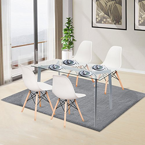 Merax Luxurious White Molded Plastic Side Chairs with Walnut Wooden Base,(set of 4) (Stacking White Chairs Wood)