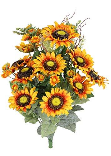 Admired By Nature 24 Stem Artificial Sunflower Cosmo Mini Berries Flower Bush for Wedding, Restaurant Home Office Decoration Arrangemen, -