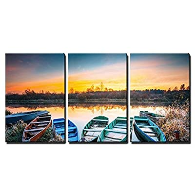 Crafted to Perfection, Incredible Visual, Lake River and Rowing Fishing Boat at Beautiful Sunrise in Autumn Morning x3 Panels