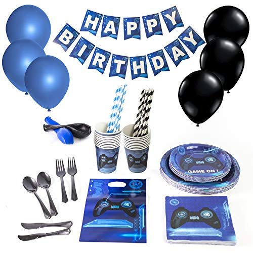 - 166 PIECES Video Gaming Party Supplies Set for Gamer Birthday Decorations Gaming Themed Serves 16 Guests Includes 9