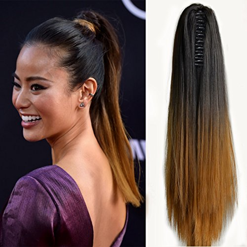 """Neverland Beauty 20""""(50cm) Ombre Two Tone Long Straight Clip in/on Wavy Ponytail Pony Tail Hair Extension Hairpiece Claw 1B#/27#"""