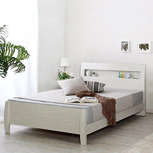 [セミダブル] ホワイト すのこベッド 【フレームのみ マットレスなし】 棚2口コンセント付き B075GGB9MB セミダブル  セミダブル