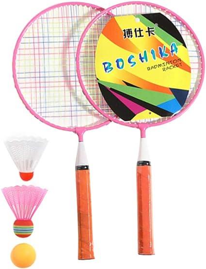 NUOLUX Badminton Racket Kit Kids Badminton Set with Rackets Shuttlecocks Play Game Beach Toys Outdoor Sports Supplies Beginner Training Blue