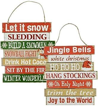 Amazon.com: Letrero de Navidad – Invierno colgante de madera ...