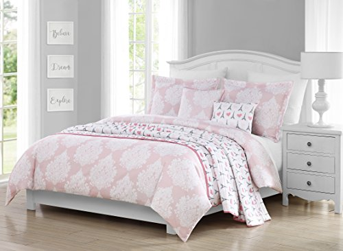 Damask Full Comforter Set (Molly Bee Paris Damask 6 Piece Comforter Set, Full/Queen, Pink)
