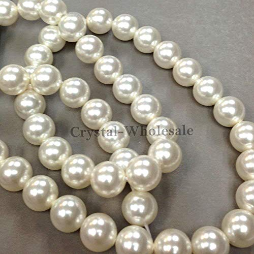 (100 Swarovski Crystal Pearls 6mm Round Beads (5810). 24 Inch Loose Strand (White))