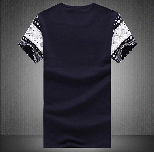 Easy Men's Fashion Diamond Plaid Pattern Tee Short-Sleeve T-Shirt M Navy Blue