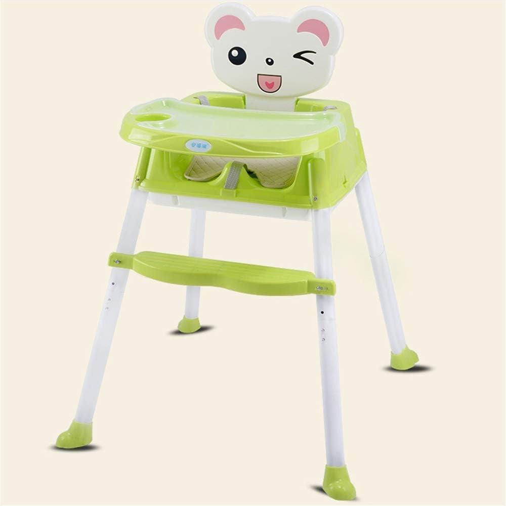 子供用ダイニングチェア ベビーブースターシートハイチェアポータブルキッズディナーチェア付きトレイフィードプレートテーブル滑り止め金庫安全快適 赤ちゃんの家か外 (色 : 緑)