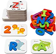 Coogam Numbers and Alphabets Flash Cards Set - ABC Wooden Letters and Numbers Animal Card Board Matching Puzzl