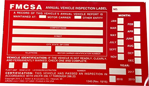 100 Annual Vehicle Inspection Label - Aluminum w/Punch Boxes