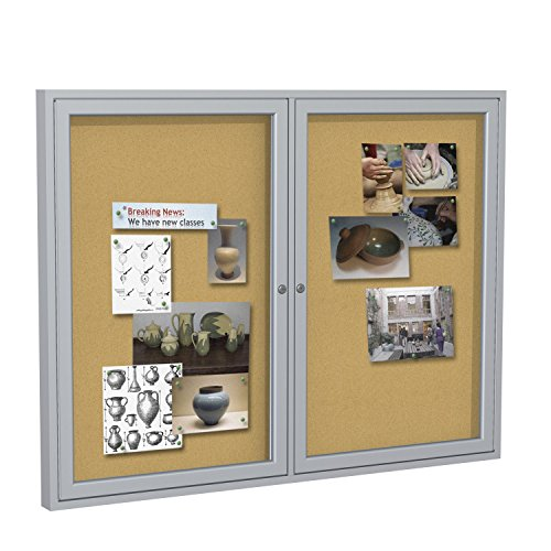 "Ghent 4"" x 5""   2-Door indoor Enclosed Bulletin Board , Shatter Resistant, with Lock, Satin Aluminum Frame  - Natural Cork (PA245K)  Made in the USA"
