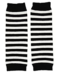 juDanzy Newborn Baby Leg Warmers (Newborn-15 Pounds)(Black & white stripe)