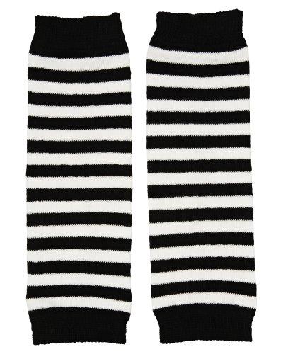 juDanzy Newborn Baby Leg Warmers (Newborn-15 Pounds)(Black & white stripe)