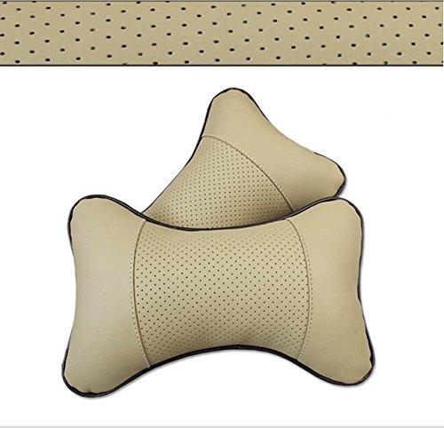 2pcs Luxury Car Rest Cushion Headrest Pillow Mat Pad Neck Holder Brace Leather (Beige)