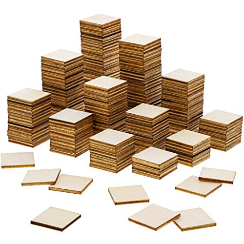 Unfinished Wood Cutout Pieces - Natural Rustic Craft Wood for Home Decoration, DIY Supplies (200 Pack), 1 x 1 Inches