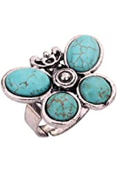 YAZILIND Jewelry Vintage Turquoise Tibetan Silver Striking Simplicity Butterfly Adjustable Ring for Women