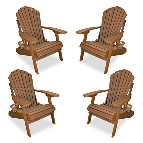 Outer Banks 4-Piece Deluxe Adirondack Chair Set (Antique Mahogany) ()