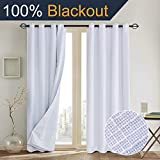 Primitive Linen Look,100% blackout curtain(with Liner)White blackout curtains& Blackout Thermal Insulated Liner,Grommet Curtains