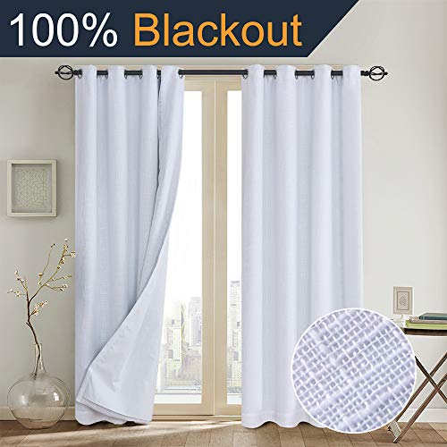 Primitive Linen Look,100% blackout curtains(with Liner)White blackout curtains& Blackout Thermal Insulated Liner,Grommet Curtains for Living Room/Bedroom,burlap curtains-Set of 2 Panels(50x84 White)p2