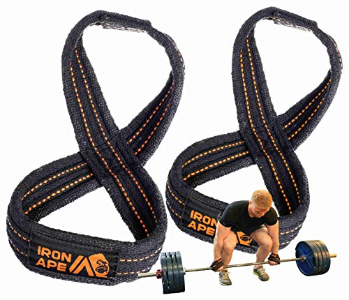 IRON APE Figure 8 Straps for Deadlift, Weight Lifting, Shrugs, and Weightlifting. Heavy Duty Cotton, 4 Sizes (I) ()