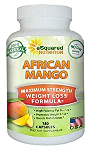 100% Pure African Mango Extract Cleanse (180 Capsules) Plus Raspberry Ketones & Green Tea Complex, Irvingia Gabonensis Seed Fat Burner, Fast Weight Loss Diet Pills Supplements, Detox Drops Slim Prime