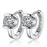 TraveT Women Earrings Fashion Small Women Fine Jewelry Angel Kiss Luxury Crystal Earrings Silver Plated Stud Earrings