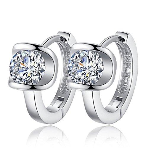 TraveT Women 925 Sterling Silver Earrings Fashion Small Women Fine Jewelry Angel Kiss Luxury Crystal Earrings (Fashion Small Women)