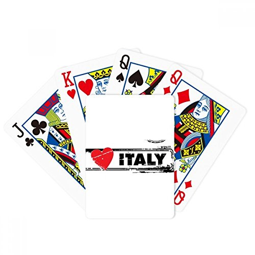 I Love Italy Word Love Heart Illustration Poker Playing Cards Tabletop Game Gift by beatChong