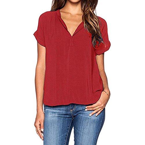 Manica A T Rosso Maglie V Corta donne Tee Zolimx Scollo Camicetta shirt Chiffon Felpa T Donna Estiva In Pullover Shirt 7wxRzF