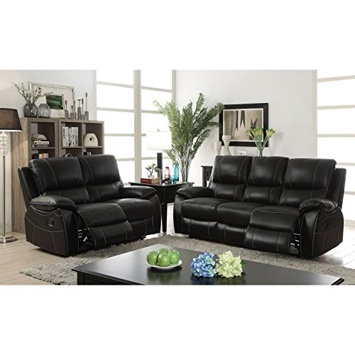 Furniture of America Neler Contemporary 2-piece Black Top Grain Leather Match Reclining Sofa Set - Plush Leather Match Upholstery