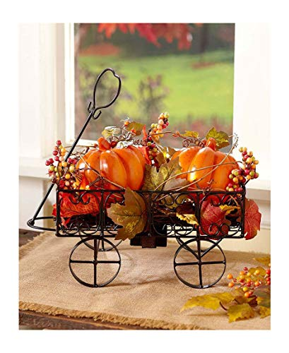 - ESG Warehouse Lighted Harvest Pumpkin Cart Wagon Fall Autumn Thanksgiving Seasonal Home Decor
