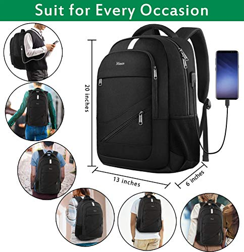 516er0AGiQL - College Laptop Backpack,Durable School Bookbags for Men Women with USB Charging Port, Mancro Business Travel Anti Theft RFID Water Resistant Backpack Fits 15.6 Inch Laptop and Notebook, Black