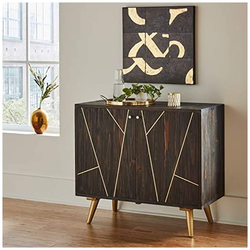 Farmhouse Buffet Sideboards Amazon Brand – Rivet Modern Wood Buffet Bar Cabinet Credenza with Gold Accents, 35 Inch Height, Brown farmhouse buffet sideboards