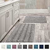 Non Slip Thick Shaggy Chenille Bathroom Rug Mat Set Extra Soft and Absorbent Striped Floor Rugs, 2 Piece, Machine-Washable