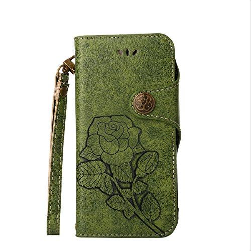 MEIRISHUN Leather Wallet Case Cover Carcasa Funda con Ranura de Tarjeta Cierre Magnético y función de soporte para Motorola Moto E4 - Negro Verde