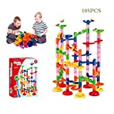Amazingbuy DIY Construction Marble Run Race, Maze Balls, Marble Run Race Coaster Maze Toys for Kids, Educational Construction Building Blocks Toy - 105PCS