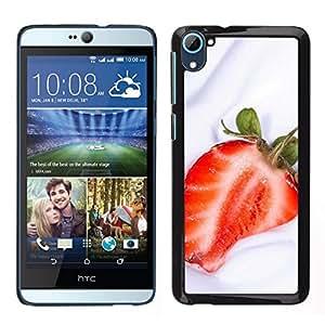 // PHONE CASE GIFT // Duro Estuche protector PC Cáscara Plástico Carcasa Funda Hard Protective Case for HTC Desire D826 / Fruit Macro Strawberry Cream /