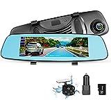 ZUMIMALL Dash Cam Rear View Mirror Car Camera, ADAS 4G 7.84 Wifi FM GPS Bluetooth Dual Lens Rear view Mirror Video Recorder Full HD 1080P Car Camera 32GB Card Car Charger