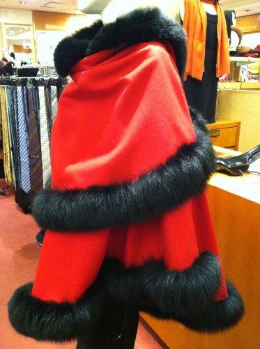 Cashmere Pashmina Group: Cashmere Cape with genuine Fox Fur Trim all around (Lipstick Red/ Black) by Cashmere Pashmina Group (Image #4)