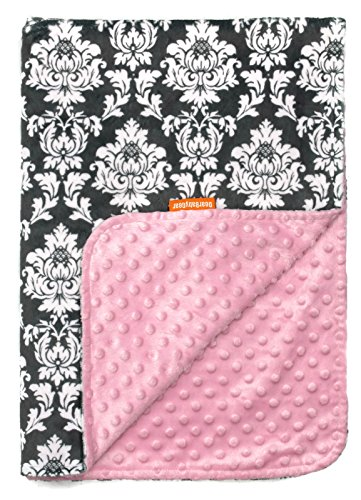 Dear Baby Gear Deluxe Baby Blankets, Custom Minky Print Grey and White Damask Pink Minky Dot