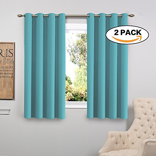 Flamingo P Triple Weave Microfiber Energy Saving Thermal Insulated Solid Grommet Blackout Curtains/Panels for Patio (One Pair, 52 Inch by 63 Inch, Aqua) Aqua Curtain