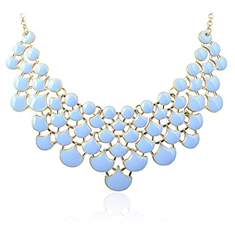 Jane Stone Fashion Statement Lily Sky Resin Bubble Frontal Balance Bib Necklace Chunky Women Hip Blue Jewelry Elegant(Fn0968-Powder (Womens Chunky Jewelry)
