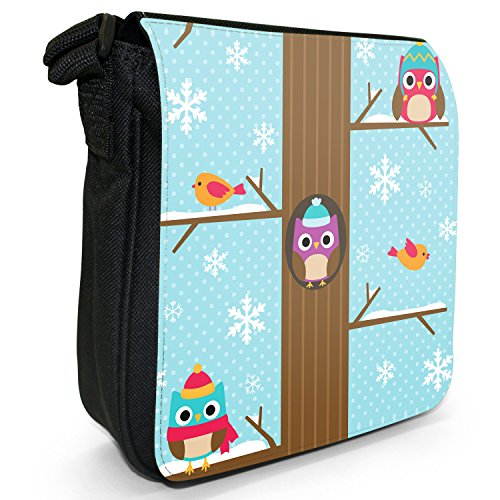 Winter amp; Black Size Shoulder Tree Bag Robin In The Snowflakes Owls High Small Canvas Tops 4pqP1