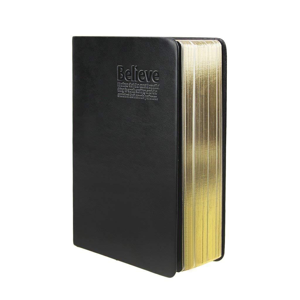 ヴィンテージ ソフト フェイクレザー ノートブック 無地 厚手 アイケア 紙 スクラップブック ライティング バイブル スタイル ライフ メモ ジャーナル ノートブック ダイアリー スケッチブック 旅行 旅行 自宅 オフィス 学校用 32K ブラック 32K ブラック B07MH13MXN