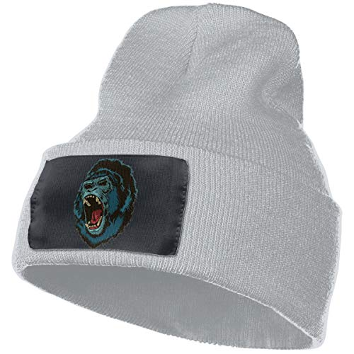 Angry Gorilla Ape Roar Unisex Knit Hat Cap Soft Warm Winter Hat Beanie Skull Caps Winter Gift Gray One -