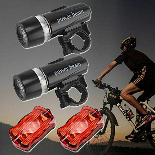 Neborn Ultra Helle Radfahren Fahrrad Licht Set 5 LED Fahrrad Front Kopf Licht 5 LED Fahrrad Hinten Taschenlampe Licht Sicherheit Fahrrad Zubeh/ör
