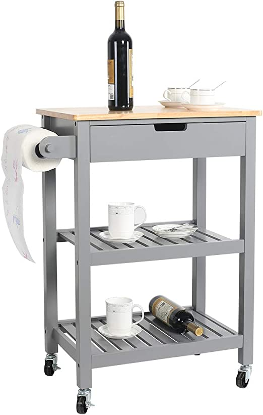 "eclife Kitchen Islands Cart Rolling Kitchen Cart Grey Drawer Storage  W/Wheels, 33""L x 22.8""L x 15.7""W, for Dining Rooms Kitchens & Living Rooms  (Grey)"