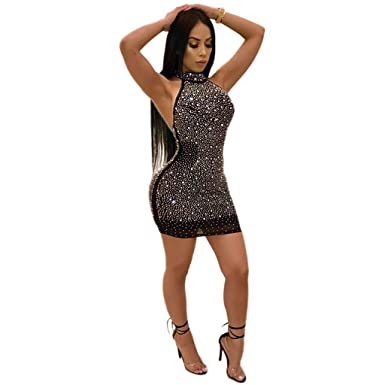 acb32cfc4a3c S-3xl Women Sexy Halter Party Dresses Open Back Mesh Hot Sequin Evening Dress  Sexy